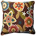 "Pillow Perfect Outdoor/Indoor Annie/Westport Chocolate Floor Pillow, 25"", Floral, Multicolored"