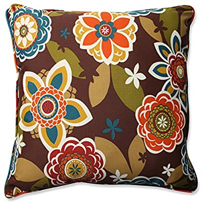 """Pillow Perfect Outdoor/Indoor Annie/Westport Chocolate Floor Pillow, 25"""", Floral, Multicolored - Includes one (1) outdoor floor pillow, resists weather and fading in sunlight; suitable for indoor and outdoor use Plush Fill - 100-percent polyester fiber filling Edges of outdoor pillows are trimmed with matching fabric and cord to sit perfectly on your outdoor patio furniture - patio, outdoor-throw-pillows, outdoor-decor - 61y5ta Ol3L. SS400  -"""