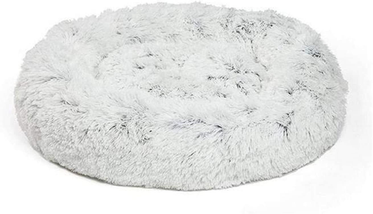 star-xing Cama Redonda Otoño e Invierno Engrosamiento de Corea del Sur Felpa Redonda Nido de Mascota Mat Cat Catter Kennel Poable Durable-Light Grey-40x20cm,