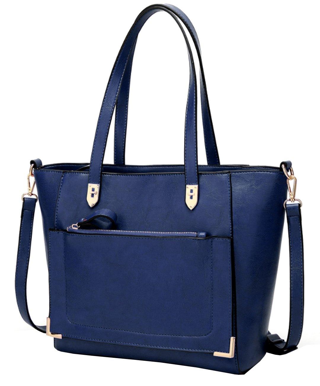 Women's Vintage Fine Fibre Genuine Leather Bag Tote Shoulder Bag Handbag Model Cronos Blue Dark