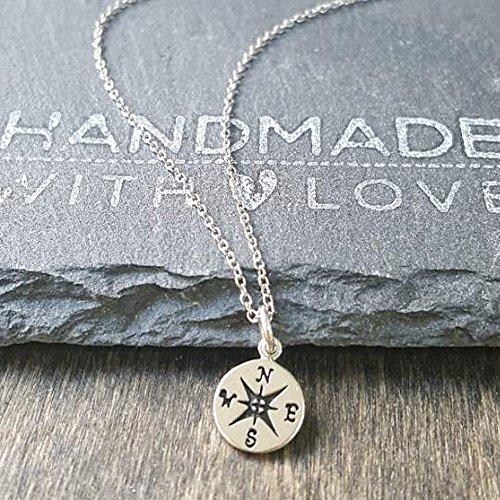 Sterling Silver Petit Compass Charm Pendant Necklace