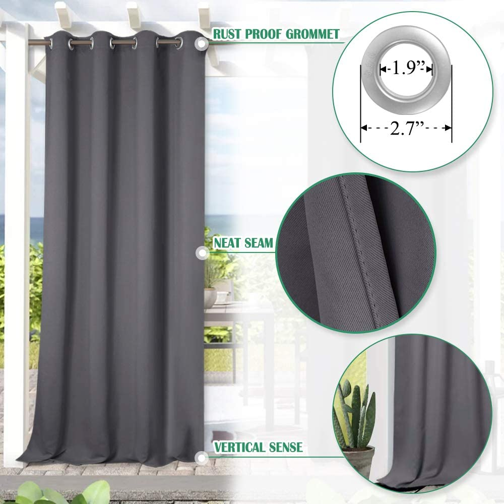 Blackout Outdoor Porch Curtains for Pergola Decoration Privacy Curtains for Pool//Gazebo//Lawn Grey StangH Patio Curtains Outdoor Waterproof 1 Panel W52 x L95