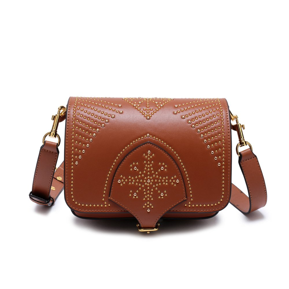 Brown AI BAO Genuine Leather Handbags Saddle Bag for Women Designer Ladies Vintage Tote Satchel Crossbody Shoulder Bags Messenger Bag Female Bag