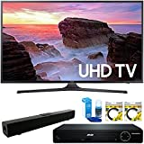 """Samsung 65"""" 4K HDR Ultra HD Smart LED TV 2017 Model (UN65MU6300FXZA) with HDMI HD DVD Player, Solo X3 B.tooth Home Theater Sound Bar, 2 x 6ft High Speed HDMI Cable & Screen Cleaner for LED TVs"""