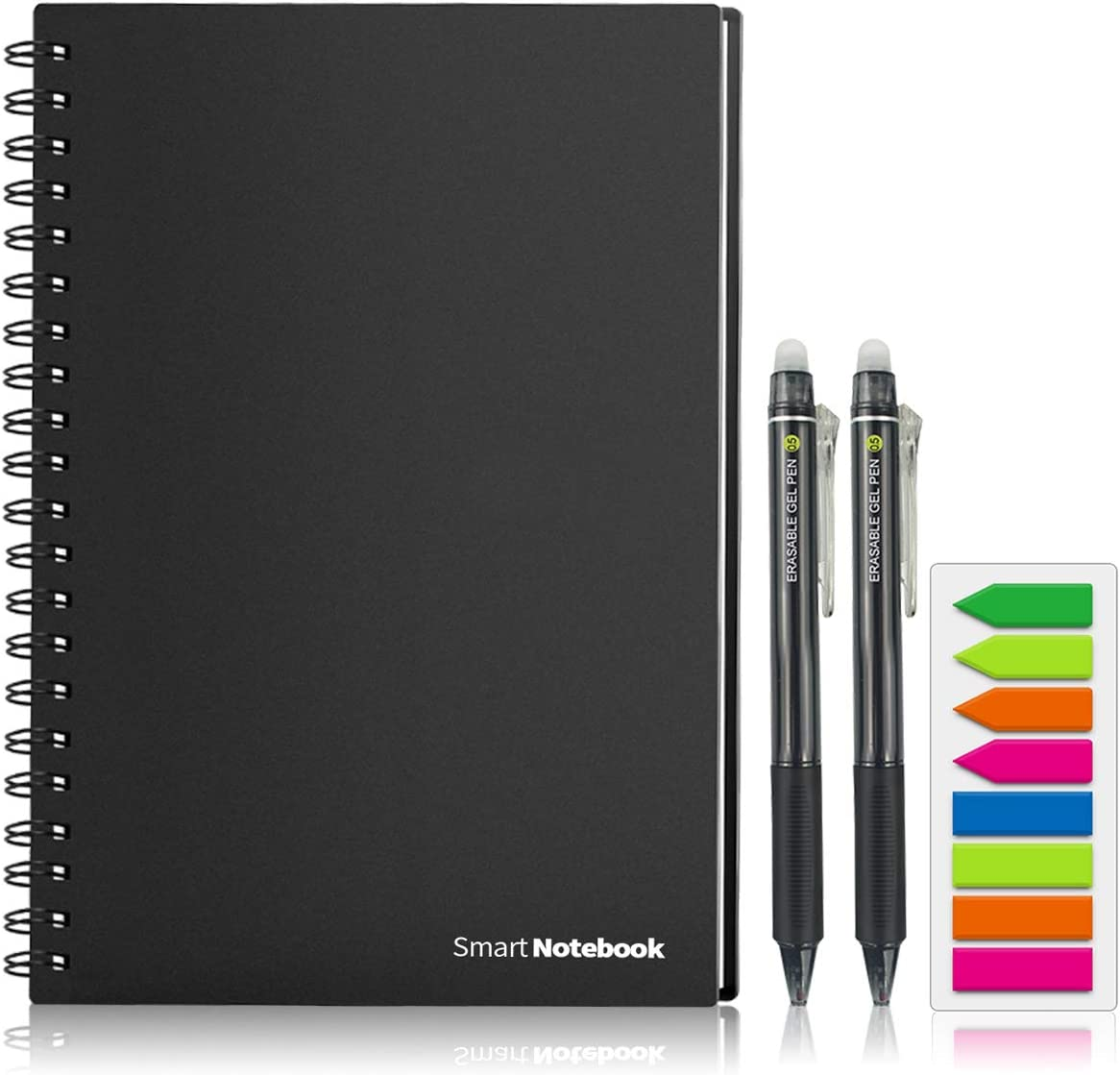 GUYUCOM Smart Reusable Notebook, Letter Size Erasable Wirebound Smart Notebook with Pen Sketch Pads APP Storage (A4)