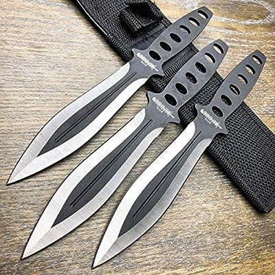 Amazon.com: Juego de 3 cuchillos de combate táctico negro ...