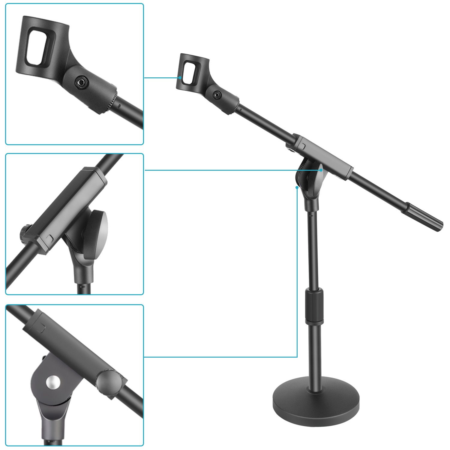 Adjustable Single Section Boom Arm Stand and Microphone Clamp for Handheld Dynamic Microphone Neewer Short Desktop Microphone Stand with 5.5 inches//14 centimeters Heavy Duty Round Weighted Base