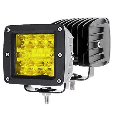 2PCS 48W CREE 3 Inch LED Pod Lights Off Road Driving Lights Spot Flood Combo LED Light Bars Fog Lights Square LED Work Light for Truck Jeep Car SUV ATV UTV Boat: Automotive