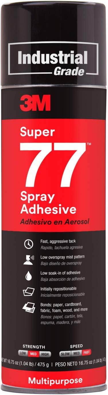 B0000AZ735 3M Super 77 Multipurpose Permanent Spray Adhesive Glue, Paper, Cardboard, Fabric, Plastic, Metal, Wood, 16.75 oz 61y5vNTf68L