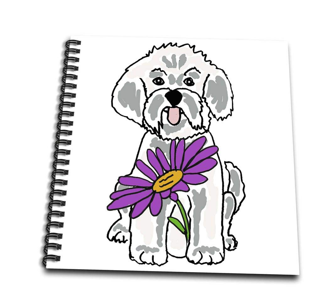 3dRose db/_260872/_1 Funny Cool Bichon Frise Puppy Dog with Purple Daisy Flower Drawing Book 8 x 8