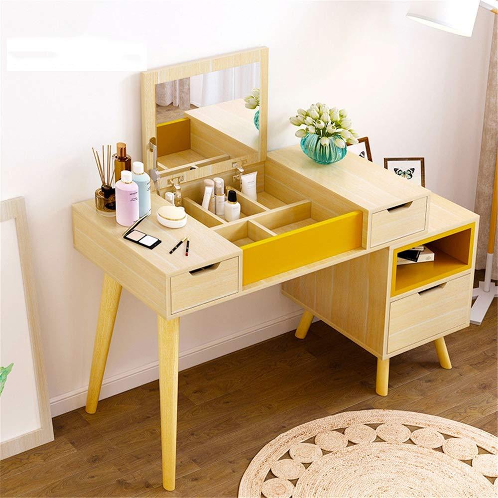 Frisierkommode Einfache europäischen Stil Frisierkommode Schlafzimmer Schminktisch Massivholz Retractable Stilvolle und Funktionelle Moderne Möbel (Color : Wood, Size : 75 x 100 x 40cm)