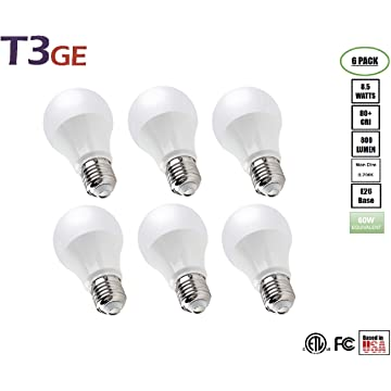 T3 Green Energy A19 Light Bulbs 8.5W(60W Equivalent) Soft White Glow Standard LED Light Bulb Eye Protection(6 Pack)