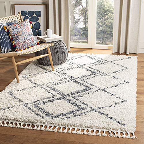 Safavieh PLX432A-8 Pro Lux Shag Collection PLX432A Cream and Blue Area (8' x 10') Rug,