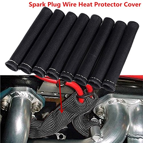 YUK Black 1200° Spark Plug Wire Boots Heat Shield Protector Sleeve SBC BBC 350 454(8 PCS) (Black)