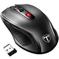 VicTsing 2.4G Wireless Mouse, [Update to Latest Version] 6 Buttons, Nano Receiver, 15 Month Battery Life, 2400 DPI 5 Adjustment Levels for Laptop Computer Macbook (Black)