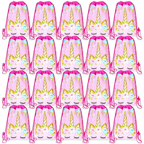 20 Pack Unicorn Drawstring Party Bag Viaky Kids Birthday Party Supplies Favor Bag Cute Unicorn Party Favors Bags Candy Chocolate Gift Bags]()