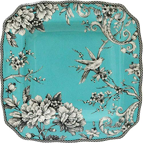 Porcelain Toile Plate (222 Fifth Adelaide Turquoise Square Porcelain Dinner Plate | Set of 4)