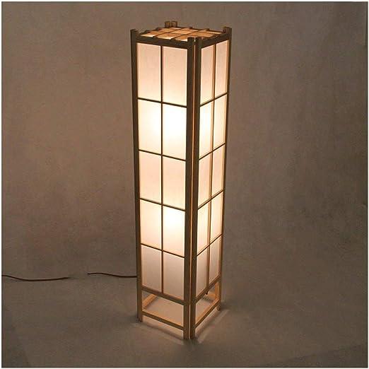 Lámparas de pie Lámpara de pie de estilo chino rústico Lámparas de bambú de piel de