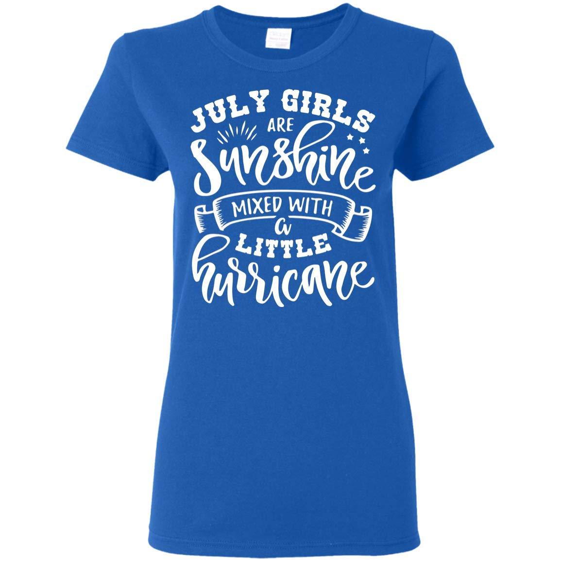 July Girls are Sunshine Mixed A Little Hurricane T-Shirt