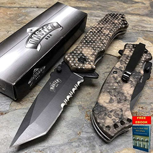 Master USA Spring Open Outdoor Tan Skull Camo Coated Nylon Fiber Pocket Knife + free eBook by OnlyUS (Butterfly Coated Knife)