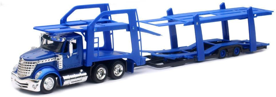 New Ray SS-16713 International Lonestar Blue with twin Auto Carrier 1//43
