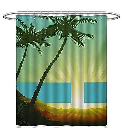Amazon Island Shower Curtains Digital Printing Sunrise In A