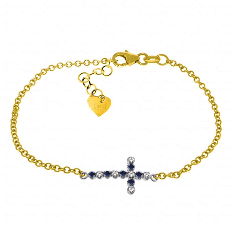 ALARRI 0.24 CTW 14K Solid Gold Cross Bracelet Diamond Sapphire Size 7.5 Inch Length