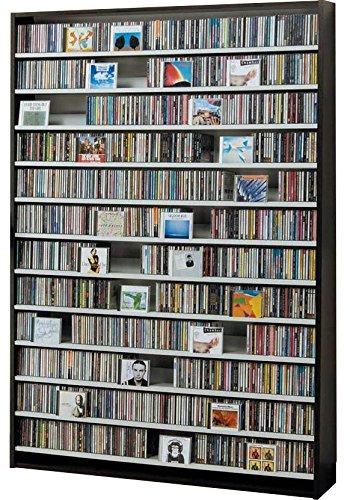 1668枚収納 CD屋さんのCD/DVDラック 幅139cm インデックスプレート20枚付き ナチュラル/ホワイト/ダークブラウン3カラー展開 (ダークブラウン) B06XR158GW ダークブラウン