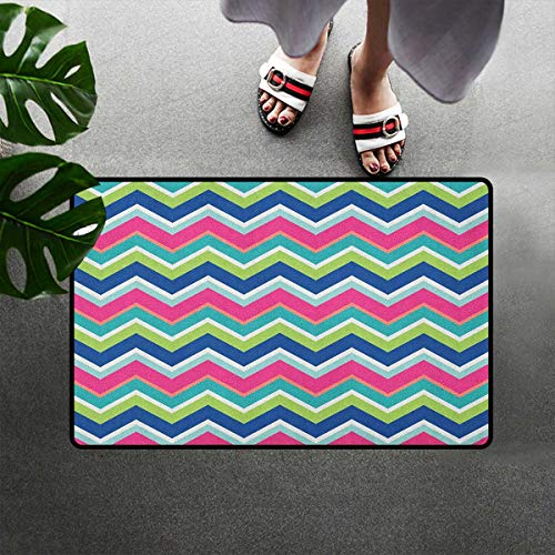 Bohogifts Colorful Quick-Dry Doormat Vintage Inspirations Colorful Chevron Pattern Abstract Angled Lines Herringbone Dirt Trapper Door Mat Mud Trapper Carpet Rugs 31