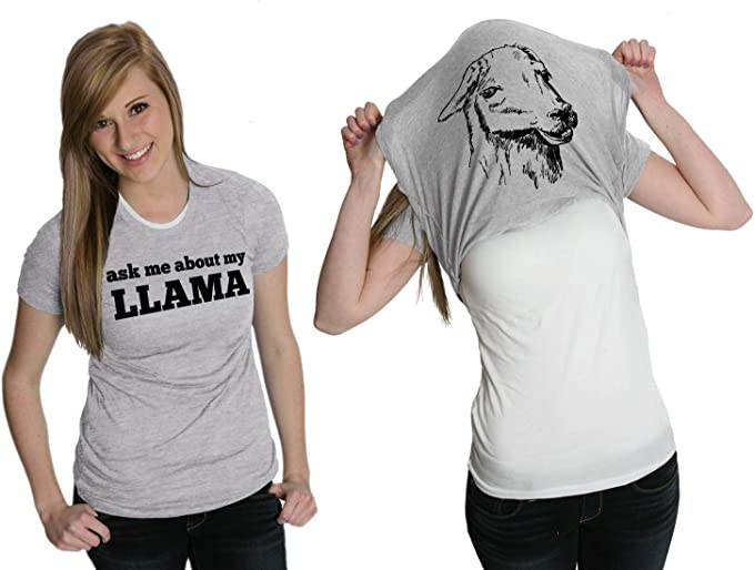 Heather Womens Ask Me About My Llama Tshirt Funny Alpaca Flip Up Tee For Ladies