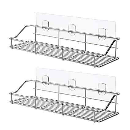 Amazon.com: ODesign Adhesive Bathroom Shelf Organizer Shower Caddy Kitchen  Spice Rack Wall Mounted No Drilling SUS304 Stainless Steel   2 Pack: Home U0026  ...