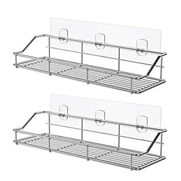 Odesign Adhesive Bathroom Shelf Organizer Shower Caddy Kitchen Spice Rack Wall Mounted No Drilling Sus304 Stainless Steel 2 Pack