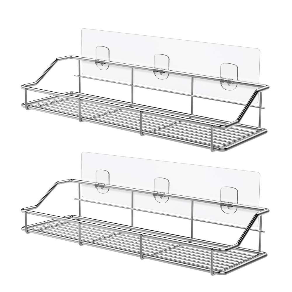 ODesign Adhesive Bathroom Shelf Organizer Shower Caddy Kitchen Storage Rack Wall Mounted No Drilling SUS304 Stainless Steel - 2 PACK