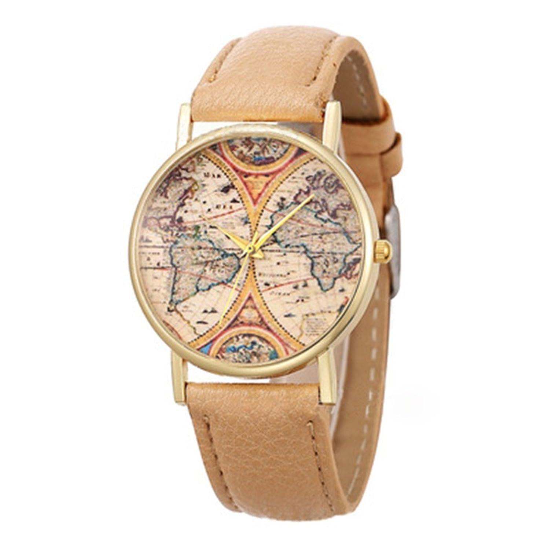 Amazon.com: LYMFHCH 4 Color Geneva Platinum New World Earth Map Leather Quartz Watches Beige Gold: Watches