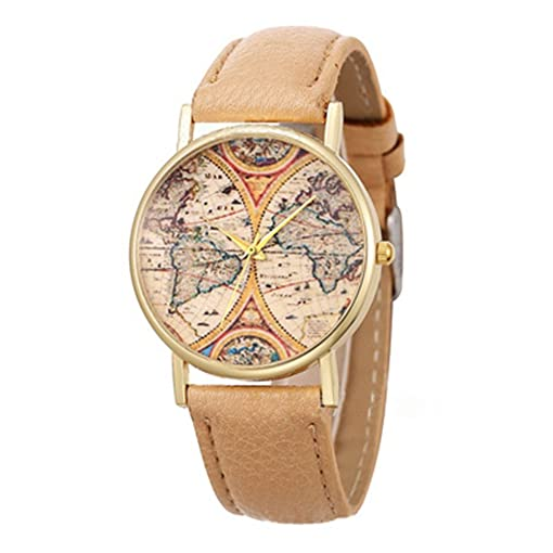 LYMFHCH 4 Color Geneva Platinum New World Earth Map Leather Quartz Watches Beige Gold