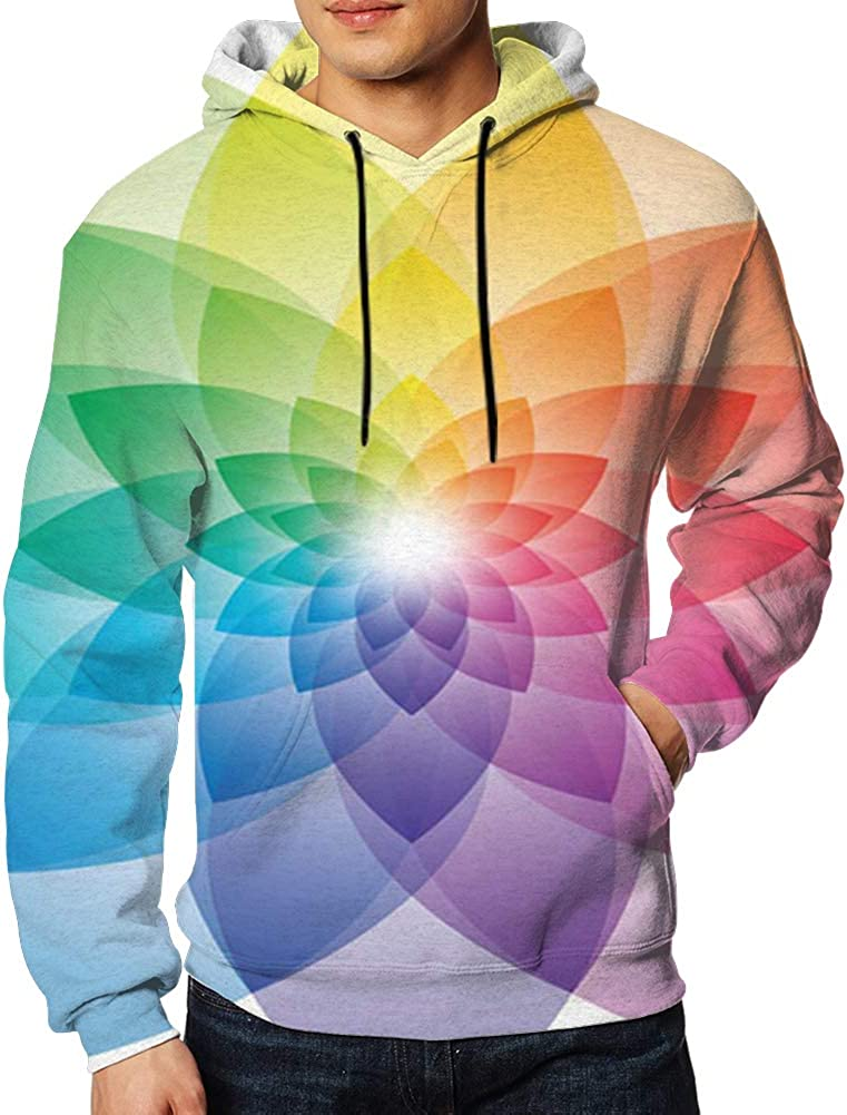 Cool pillow Beautiful Lotus Flower Color Wheel Mens 3D Printed Pullover Long Sleeve Hooded Sweatshirts with Pockets S