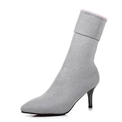 VogueZone009 Damen Gemischte Farbe Blend-Materialien Stiletto Ziehen auf Spitz Zehe Stiefel, Grau, 43