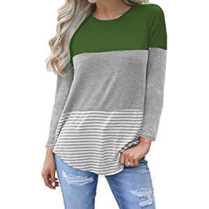 bc5451a92b1d kigod Womens Casual 3/4 Sleeve Color Block T-Shirt Blouses Back Lace Striped
