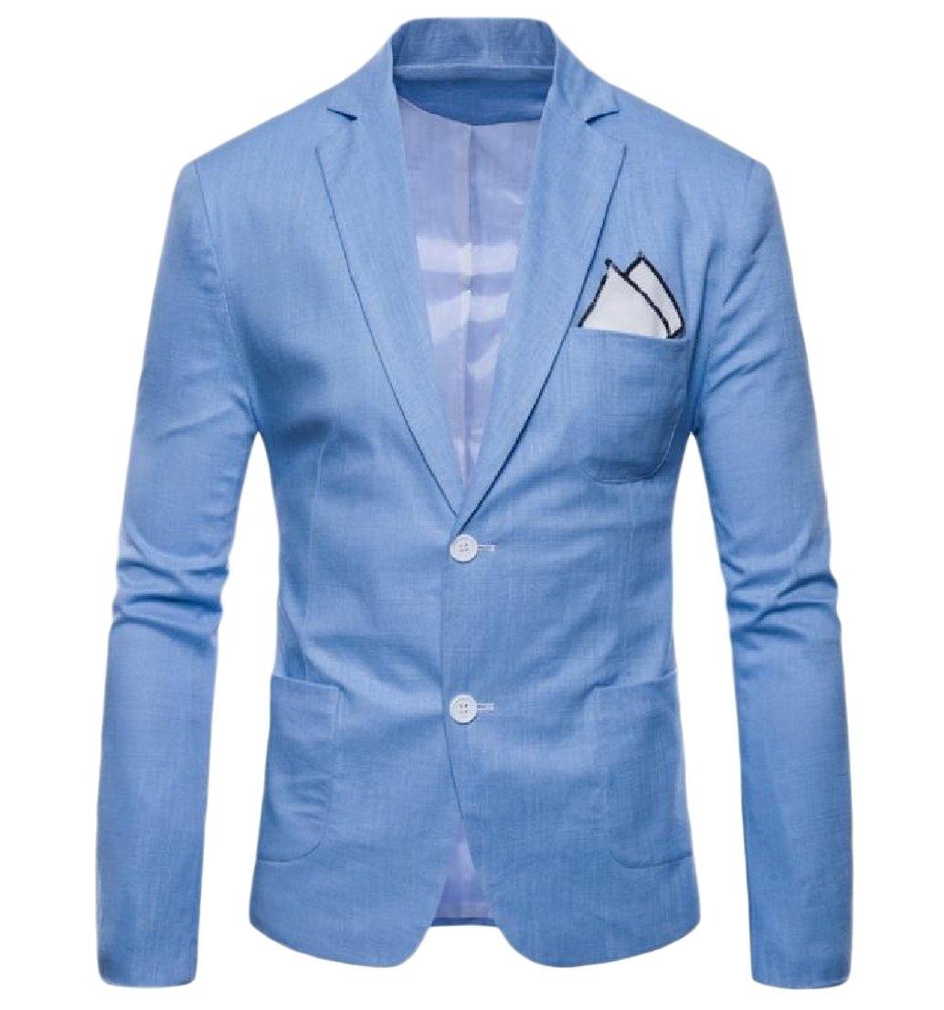 Vska Mens Oversized Classic Blazer Solid-Colored Linen Welt Jacket