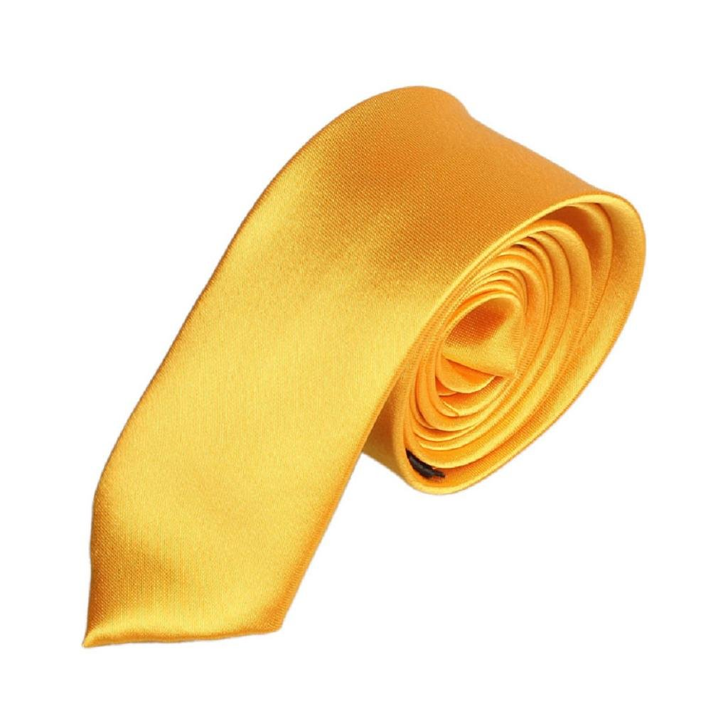 Singleluci Mens Casual Slim Plain Necktie Solid Skinny Party Wedding Polyester Neck Tie (Gold)