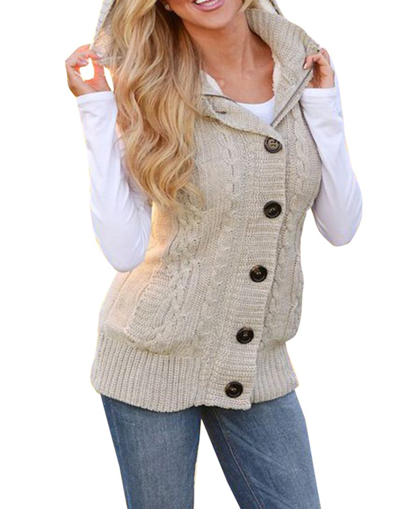 Makkrom Womens Sleeveless Hoodies Button Down Cable Knit Vest Sweater Top