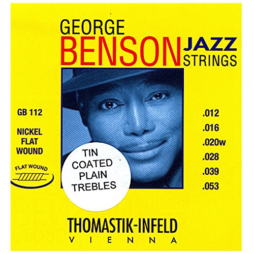 George Benson Guitar Strings (Thomastik-Infeld GB112 Jazz Guitar Strings: George Benson 6 String Set - Pure Nickel Tin Coated Plated Trebles Flat Wounds E, B, G, D, A, E Set)