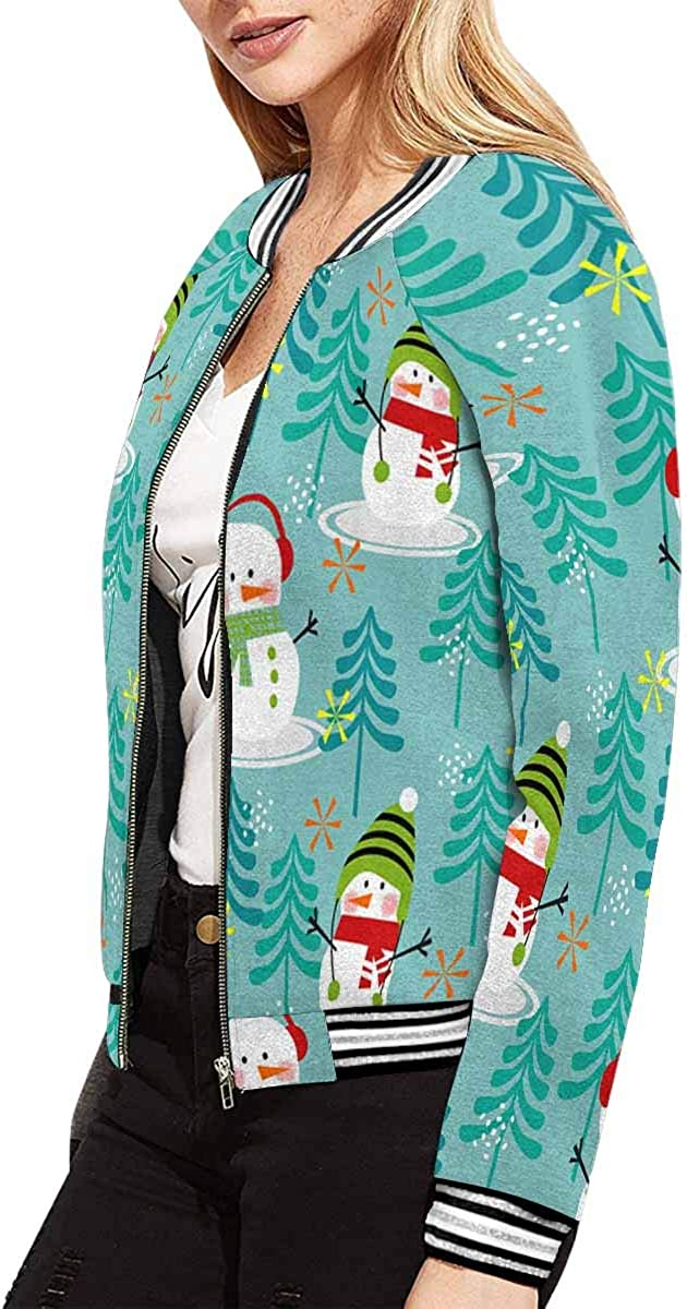 INTERESTPRINT Womens Christmas Wreathes Nature Long Sleeves Zippered Pockets Jacket