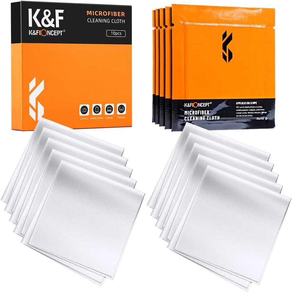 K&F Concept 10 Piezas Paños de Limpieza de Microfibra para Objetivo Lentes Lavable Gafas Teléfonos y Portátiles, Paños Microfibra Lavable/ Reutilizable/ Envasadas al Vacío (Tamaño: 15×15cm)