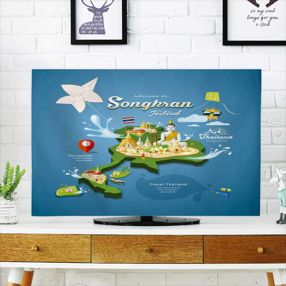 Analisahome Front Flip Top songkran Festival in Thailand with Kite Water Pagoda Sand and Travel Front Flip Top W19 x H30 INCH/TV 32''