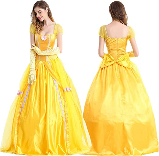 JIANG BREEZE Disfraz de Princesa Belle Halloween Cosplay La Bella ...
