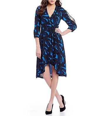 639849cf227 H Halston Split Sleeve Wrap Dress (S) at Amazon Women s Clothing store