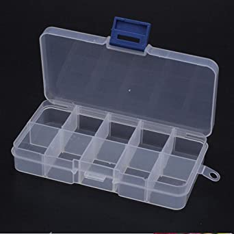 1 caja de plástico portátil para pastillas, 8/10/15 compartimentos, para herramientas, blanco: Amazon.es: Iluminación