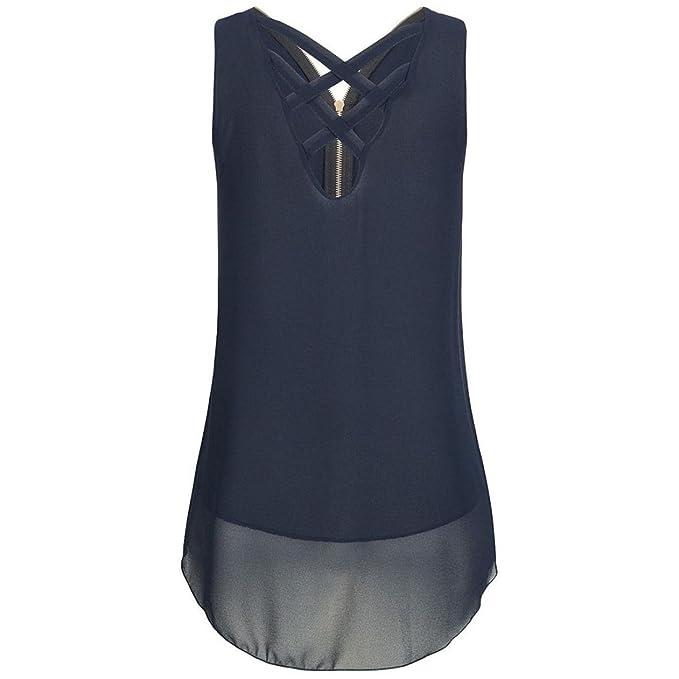 Mujeres Tops Piebo Gasa Camiseta sin Mangas Cruz Atrás Hem Layed Camisetas con Cremallera con Cuello