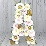 Blush and gold paper mache floral letter